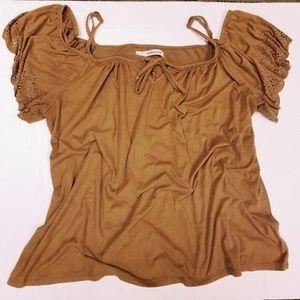Maurices faux suede cold shoulder soft shirt